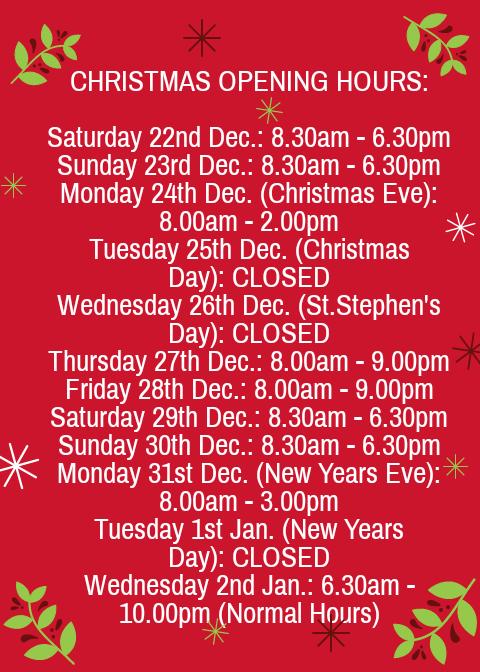 Christmas Opening Hours.Christmas Opening Hours Felda